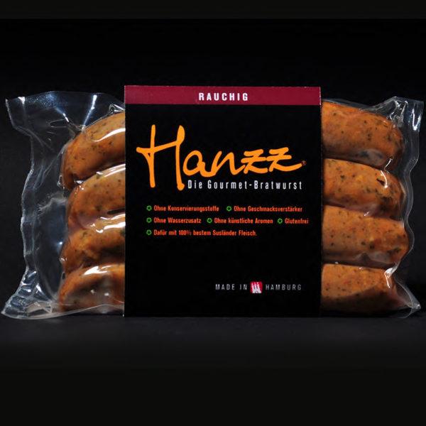 Hanzz rauchig 4er Pack die Schinkenwurst mit viel gutem Fleisch